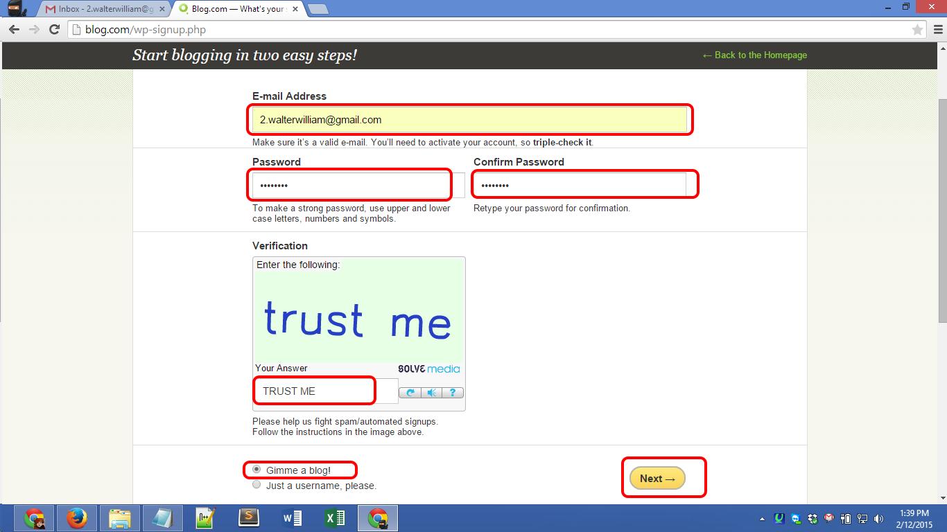 Blog.com account registration Screenshot 02