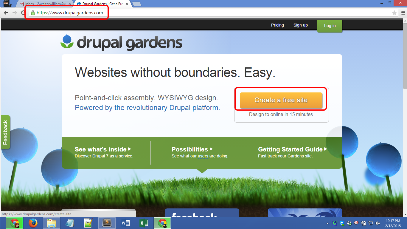 Drupalgardens.com registration Screenshot 01