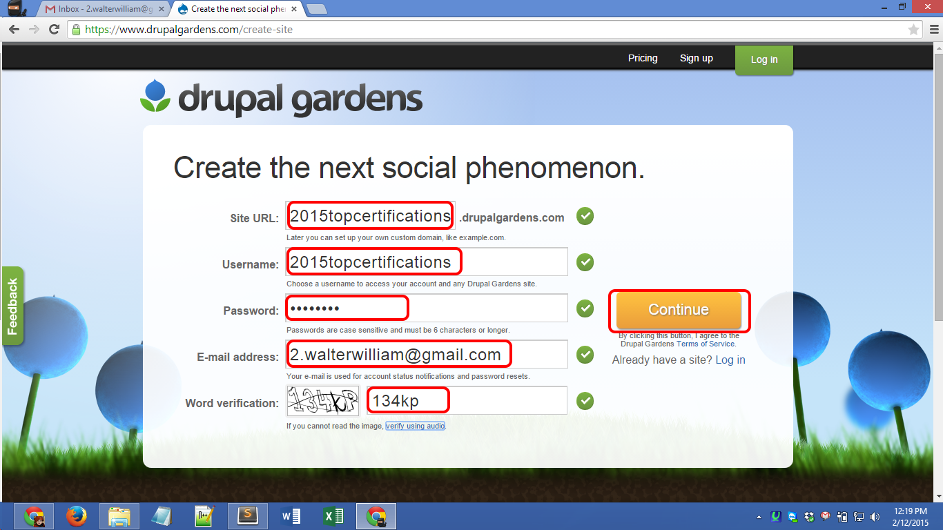 Drupalgardens.com registration Screenshot 02