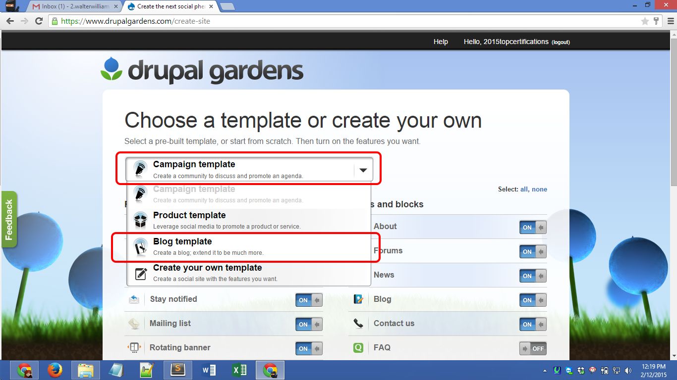 Drupalgardens.com registration Screenshot 03