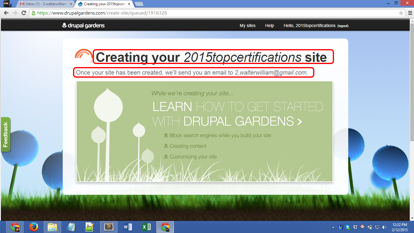 Drupalgardens.com registration Screenshot 08