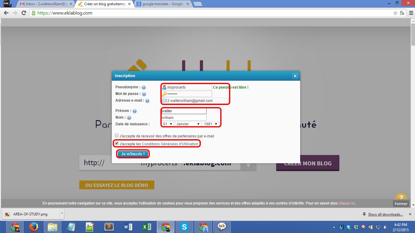 Eklablog.com blog registration Screenshot 03