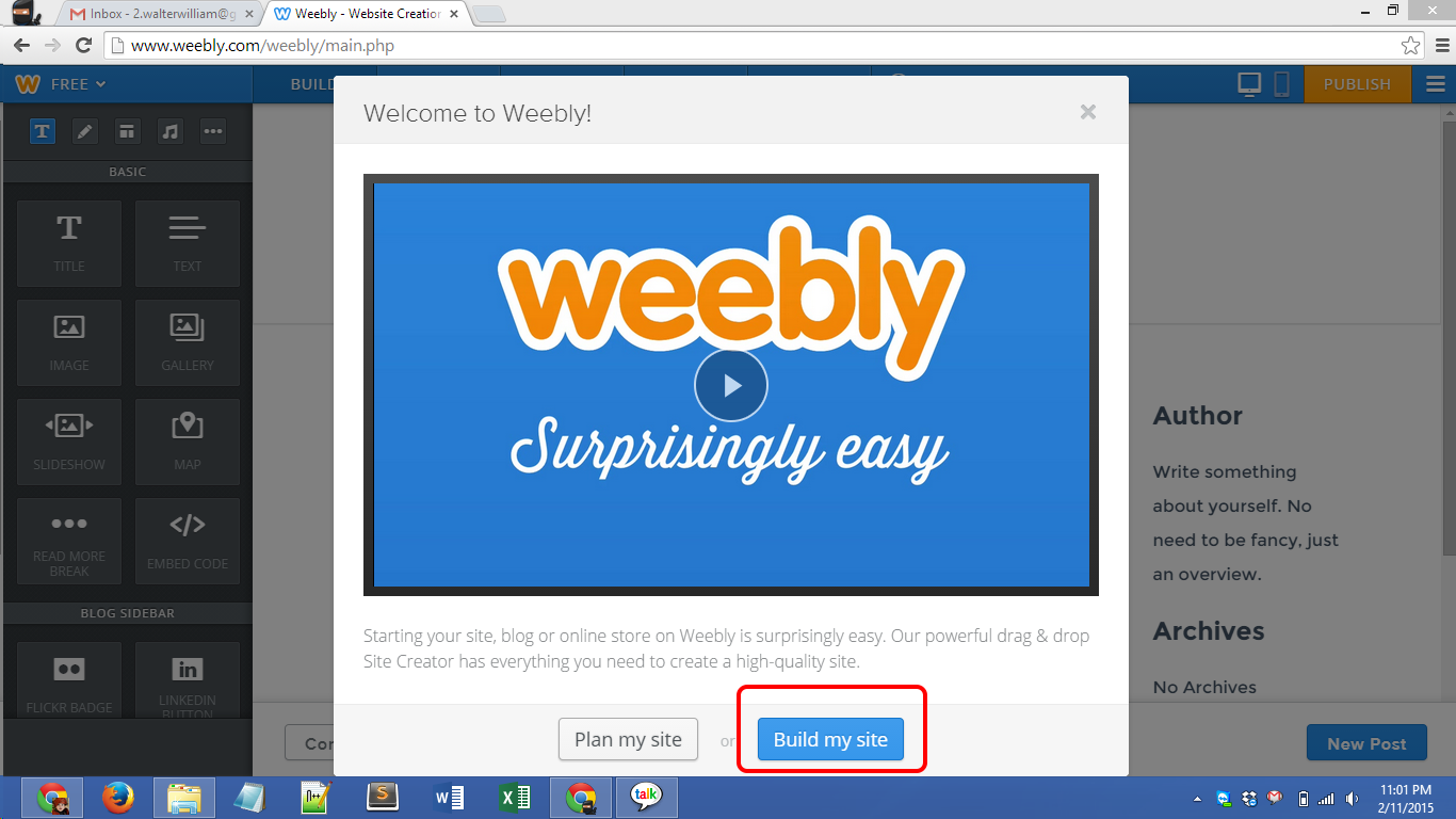 Weebly.com account creation Screenshot 05