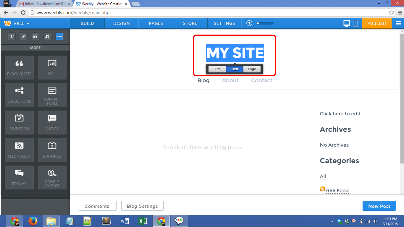 Weebly.com account creation Screenshot 06
