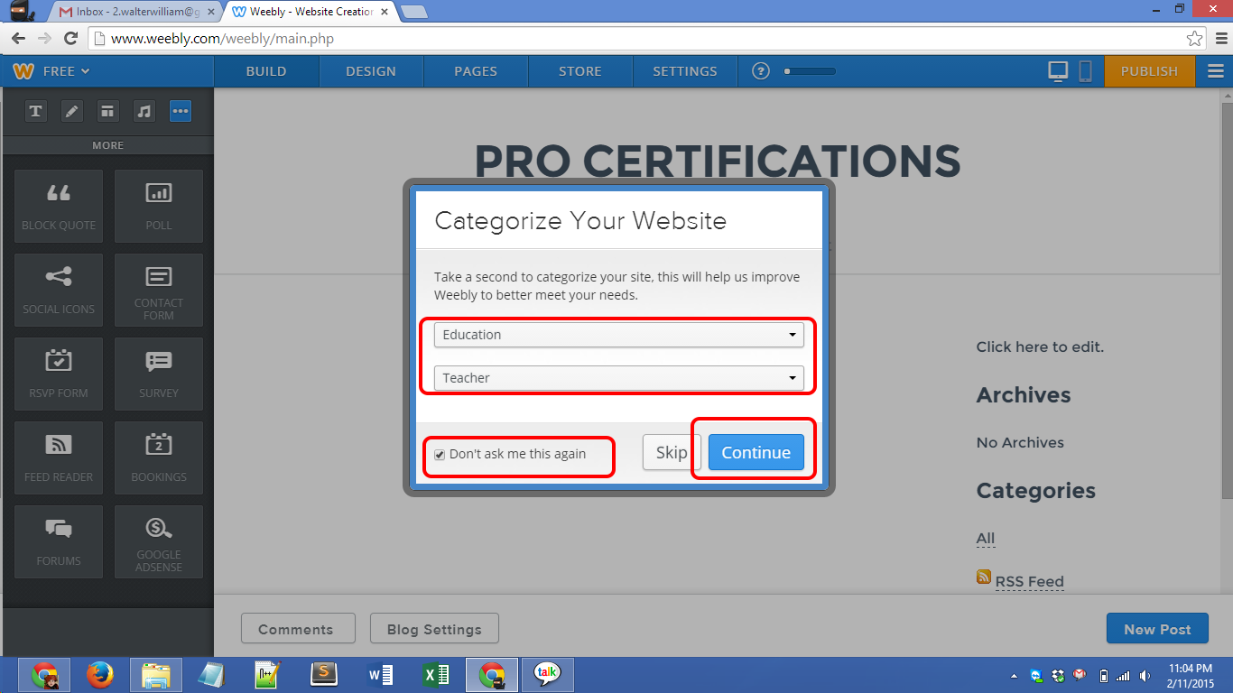 Weebly.com account creation Screenshot 10