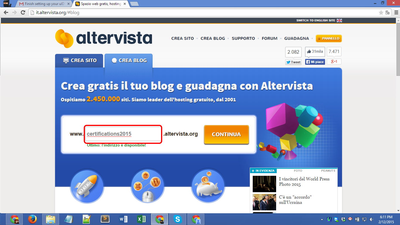 altervista.org Blog Registration Screenshot 02